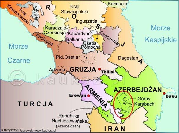 Górski Karabach na tle Kaukazu